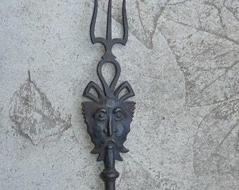 Antique Devil Head Wrought Iron  Fireside Tool Toasting Fork