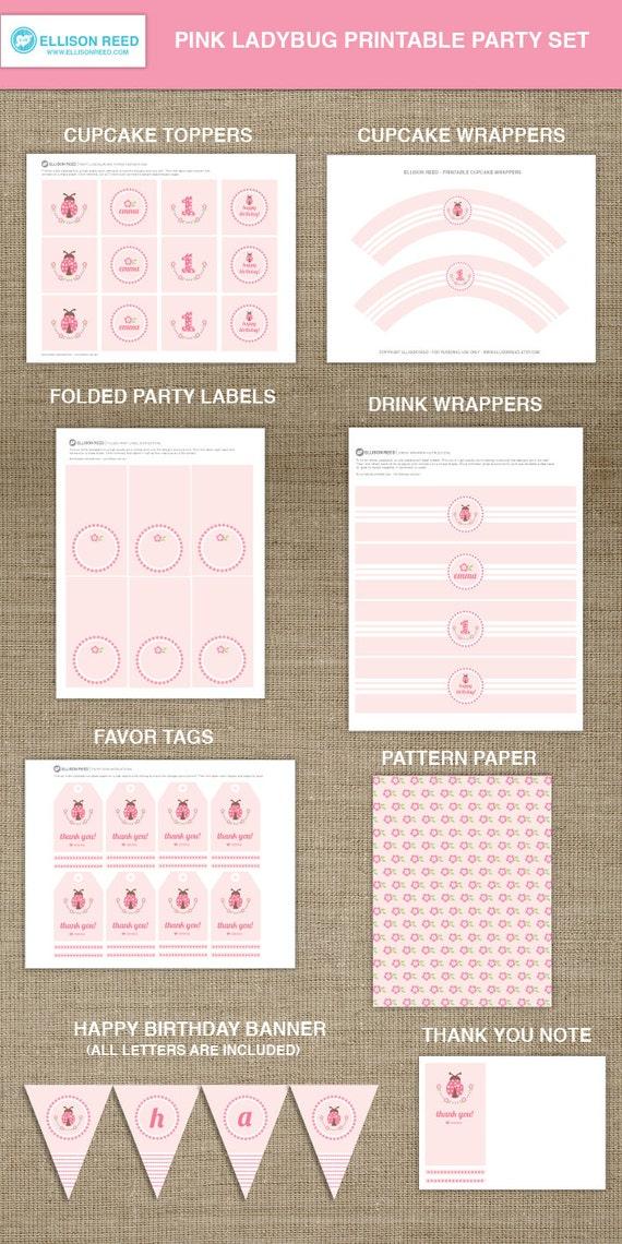 Pink Ladybug Printable Party - Ladybug Birthday - Ladybug decorations - First Birthday - bug - flowers - Pink - polka dots