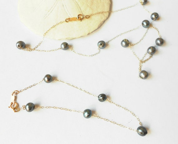Tahitian black cultured pearl 14k chain vintage necklace bracelet set- bridal jewelry