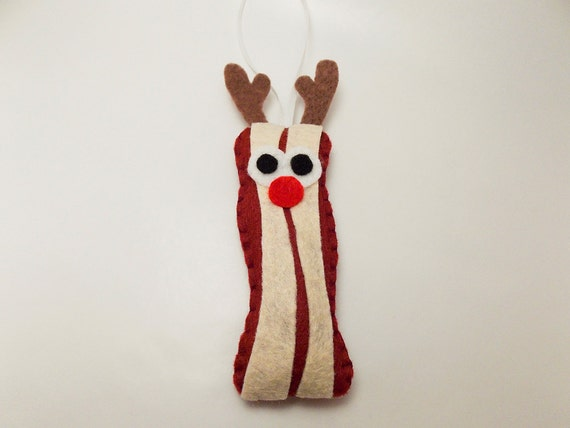 Reindeer Bacon Felt Ornament