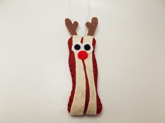 Reindeer Bacon Felt Ornament
