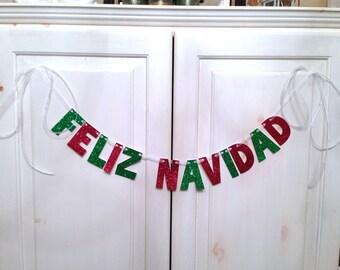 Feliz Navidad Christmas Banner -- Photo Prop / Decoration