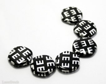 Silver and Black Czech Beads 19mm (6) Opaque Flat Round Pressed Glass Metallic last