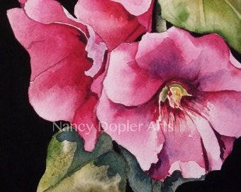 Pink Hollyhocks Watercolor Flower Painting Original