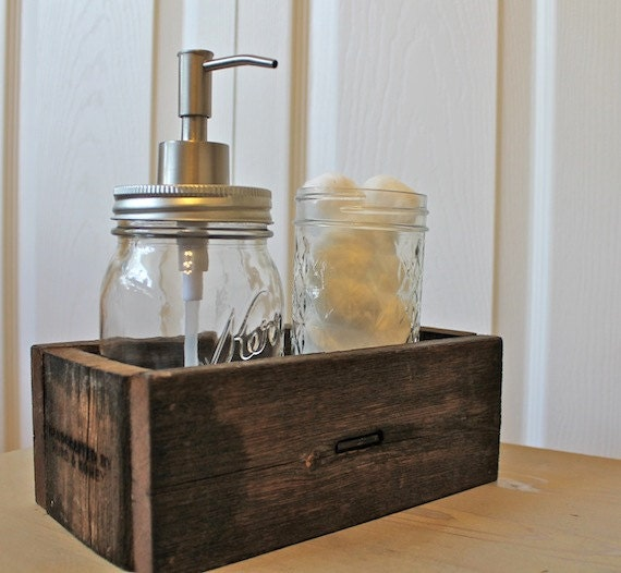 Rustic Reclaimed Wood Caddy desk organizer by HurdandHoney