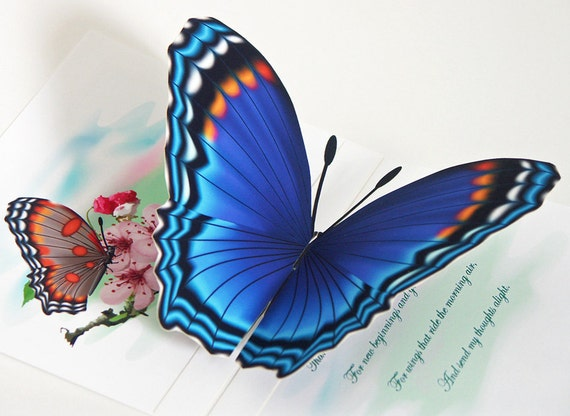3D Blue Butterfly pop-up Card  Any occasion card