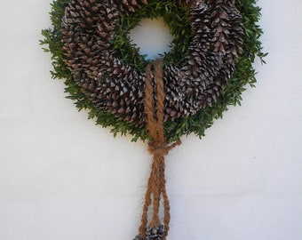 Fresh Boxwood and Pinecone Wreath, Fall Wreath and Winter Wreath