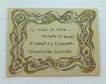 Original Illustration, Charlotte Brontë Quote - Jane Eyre, My Bride is Here, Literature Art, Love Quote Art
