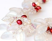 Red and White Beaded Necklace, Bridal Jewelry, Christmas Jewelry, Winter Wedding
