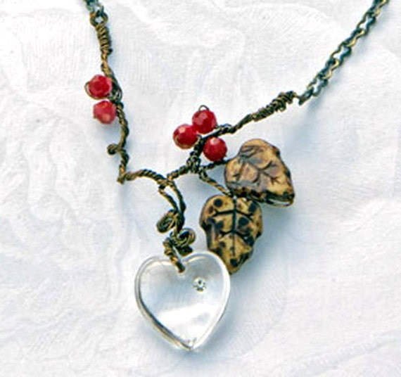 Woodland Heart Necklace, Faerie Necklace, Leaf Necklace, Nature Jewelry, Valentines  Day Gift for Her.