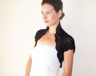 Black Evening Bolero, Bridesmaid Black Lace Shrug, Wedding Cover up, Bridal Shoulders Cover, Crochet Bolero Shrug, Lace Bolero Jacket
