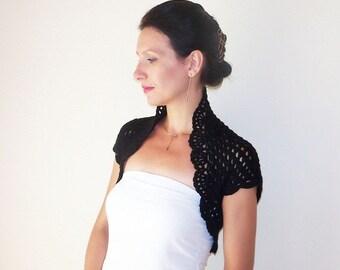 Black Bolero Shrug, Lace Wedding Bolero Jacket, Crochet Bolero Shrug, Wedding Jacket, Bridesmaid Cover Up, Mother of the Bride Shrug