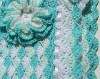 CROCHET PATTERN-Baby Blanket Turquoise Sea Shell-Baby Shower-Boy or Girl DIY Gift-Craft Supply-Instant Download Digital Pattern Pdf No.42