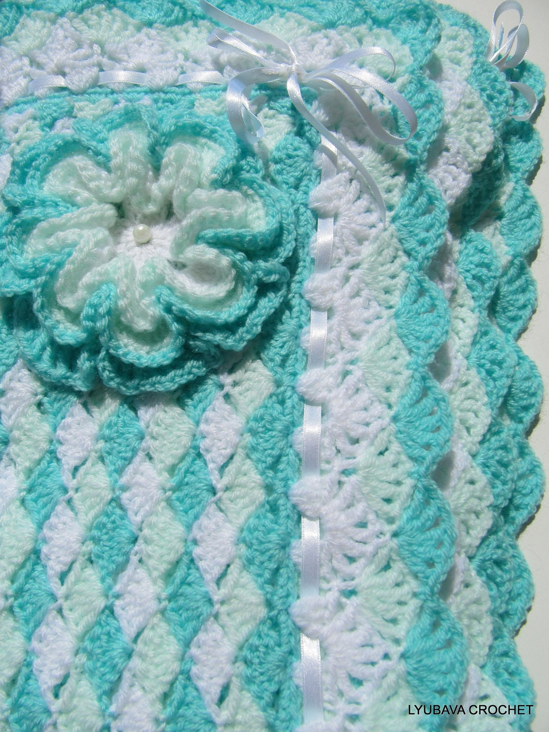 Crochet PATTERN Baby Blanket Turquoise Sea Shell Baby Shower
