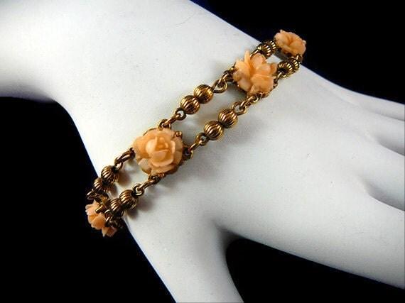 Goldette Gold Toned Link Bracelet with Coral Colored Rosettes