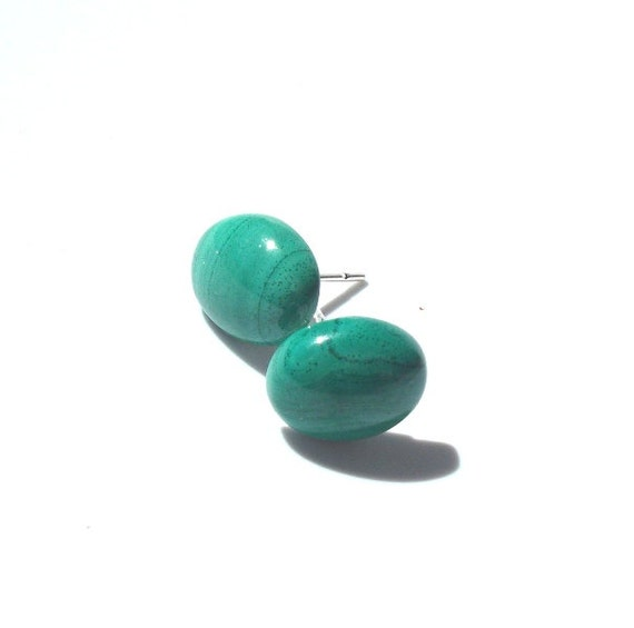 Green Malachite Post Earrings, Ultramarine Marine, Fall Trend, Fall Jewelry, Autumn Jewelry, Christmas, , gifts for her, gifts under 20