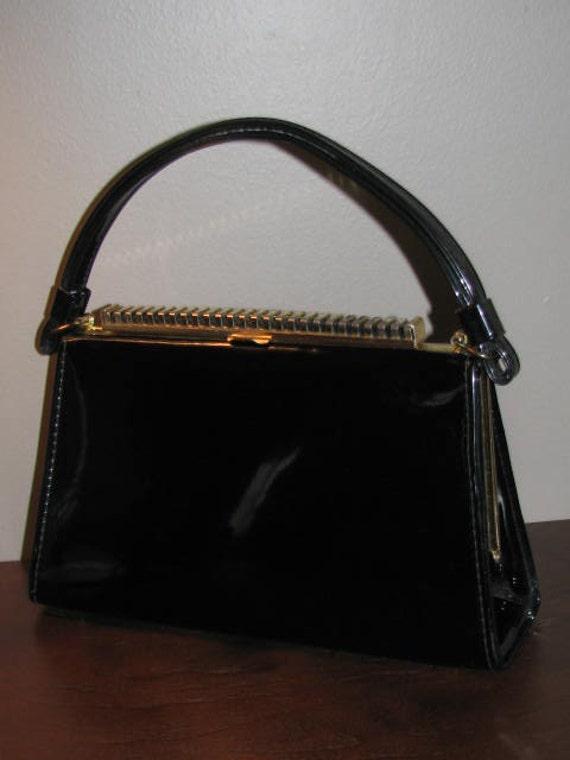 Ladies Who Lunch //AETNA Shiny Black Keyboard Kelly Bag Purse 50s 60s Handbag Vegan Structured Gold FRAME Bag USA