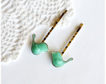 Hair pins, Cute mint birds bobby pins, Set of 2 hairpins, Bridal hair pins, Hair clip, Mint hair jewelry, Hair accessories, gift for her
