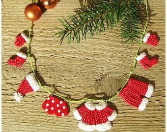 Christmas garland, Christmas decor, Santa's Laundry hanging on clothesline, Mini Funny garland, Christmas ornaments