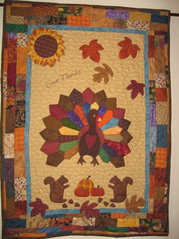 Folk Art Thanksgiving Turkey Quilt Textile Art Wall Hanging