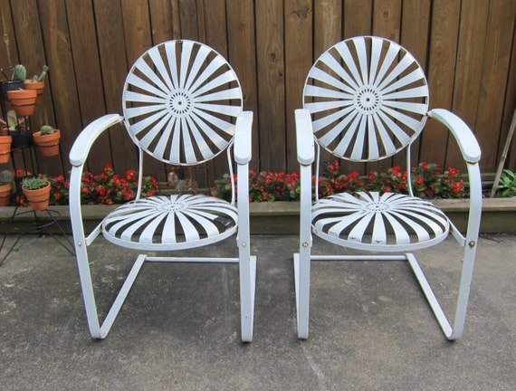 Antique Pair Of White Metal Sunburst Patio Spring Chairs