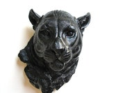 BLACK Faux Taxidermy Panther Head: Pimmy the Panther // den decor / office / faux animal head/ wall decor / wall mount / fake animal head