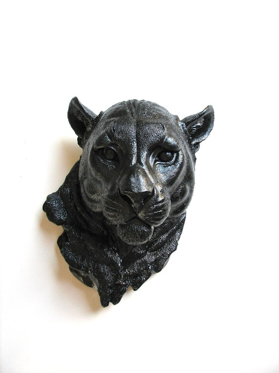 BLACK Faux Taxidermy Panther Head Faux taxidermie faux animal head wall mount animal wall hanging mounted wild cat animal wall sculpture