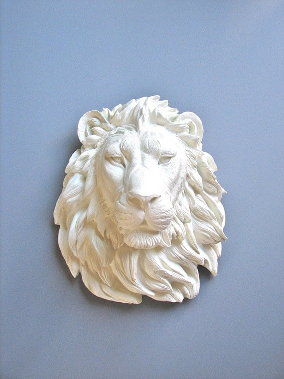 Large Faux Taxidermy Lion Head wall mount wall hanging in WHITE // safari animal / resin sculpture / white lion / nursery decor / office