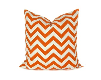Orange Chevron Pillow Decorative Throw Pillow Covers 20x20 Inch Pillow Cover Cushion Covers Printed Fabric both sides Orange Cream Pillow