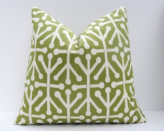 Decorative Throw Pillows Green Pillow Cover ONE 24x24 Euro Pillow Cover Printed Fabric both sides Olive green Pillow