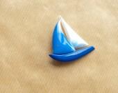 Sailboat Brooch Blue Vintage Pin