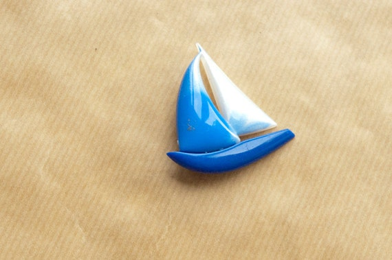 Sailboat Brooch Blue Vintage Pin