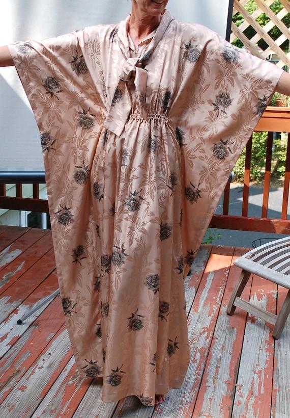 Vintage 1970s Dress Caftan Retro Style Boho Maxi Dress Loose Fit Satin Elastic Waist Tie End Collar Bat Wing Sleeves One Size