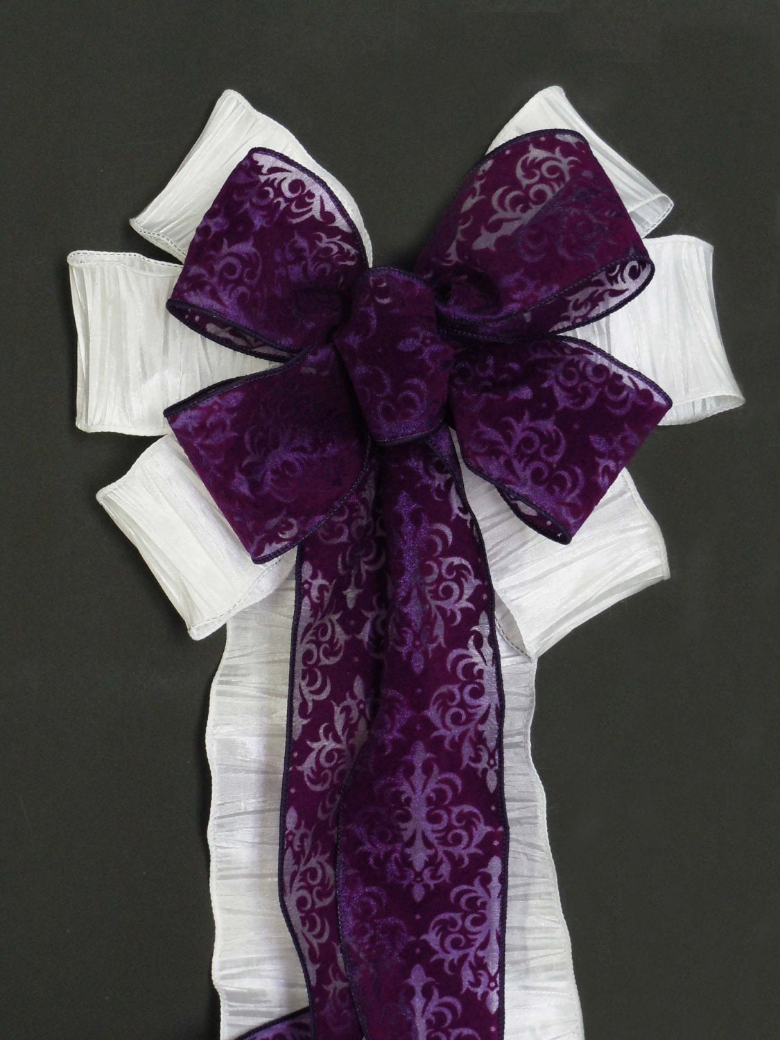 Purple damask wedding pew bows white and by simplyadornmentsss - Bow decorations for weddings ...