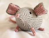 Grey and Pink knit mouse
