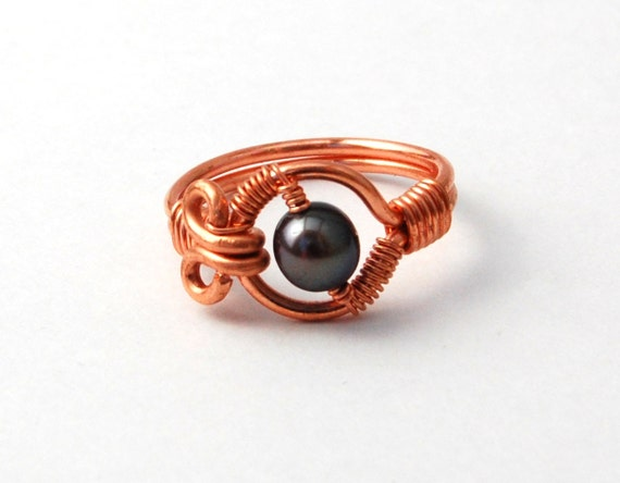 Wire Wrapped Ring - Copper Wire Ring with Pearl