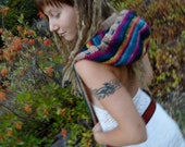 Rainbow Wool Hooded Scarf with Drawstring