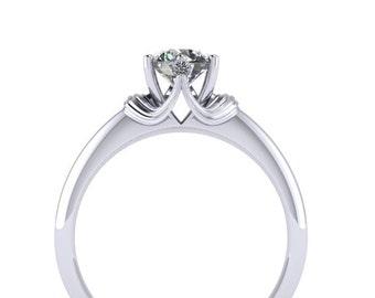 Diamond Owl Halo Engagement Ring 14K White Gold