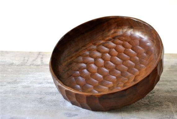 SALE Vintage German teak wood fruit bowl Mid Century Modern hand carved hand made