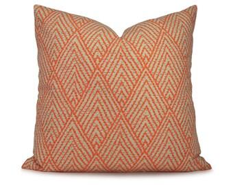 Orange & Tan Stylized Chevron Pillow Cover - Tahitian Stitch Tangerine Decorative Pillow - Throw Pillow