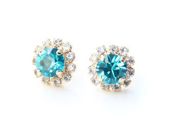 ON SALE! Blue Crystal Stud earrings - rhinestones posts - 24k gold plated