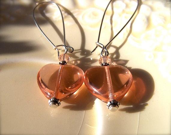Sale Pink Heart Earrings, Peach Pink Glass Puffy Hearts, Pink Earrings, Romantic, Bridesmaid, Feminine