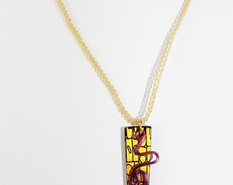Yellow Dichroic Squiggle Necklace