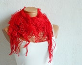 Latest Fashion filet knit dark Red women scarf, ruffle design, unique gift for women, spring trends 2012