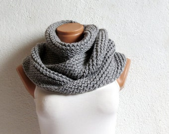 Chunky Grey Knit Cowl, Hand Knit Warm Infinity Scarf, Soft Neck Warmer, Unisex Circle Scarf / Hand Knitted, knit infinity scarf, For Teens