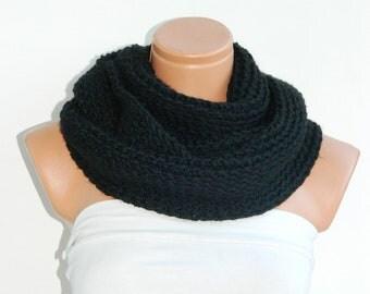 Handmade knitted infinity scarf Block Infinity Scarf. Loop Scarf, Circle Scarf, Neck Warmer. Black Crochet Infinity