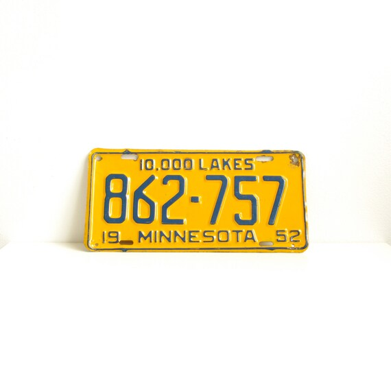 Vintage Yellow Minnesota License Plate