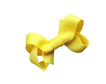 Small yellow boutique bow - yellow hair bow, baby bows, toddler bows, yellow bows, girls hair bows, girls bows, small bows