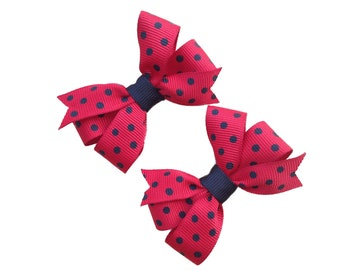 Small red & black polka dot hair bows
