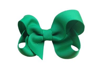 3 inch Green hair bow - green hair bow, toddler bow, 3 inch bow, girls hair bows, green bows, baby bows, girls bows